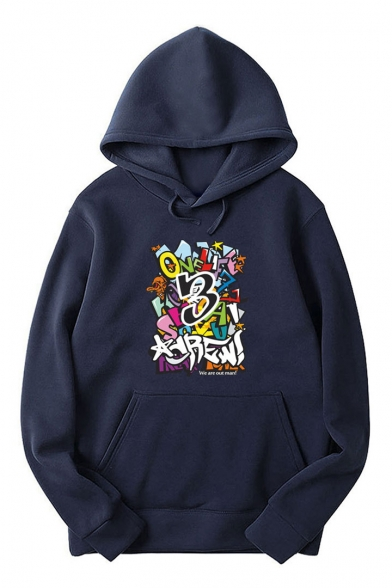 Long Letter Printed Sleeve Pocket Hoodie Z5wvrH15q