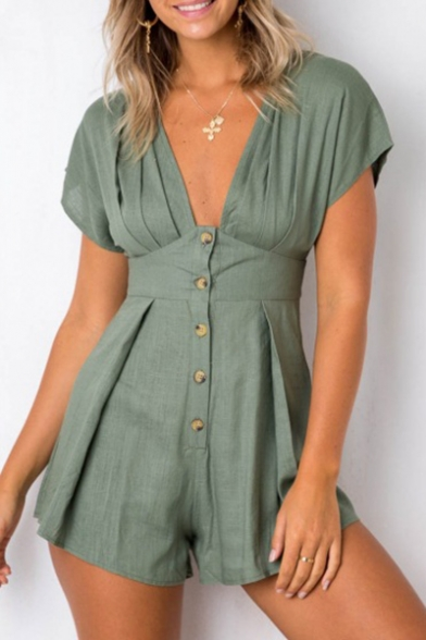 a6192181f6d Plain Plunge Neck Buttons Down Short Sleeve Romper - Beautifulhalo.com