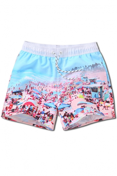 Quick Dry Pink and Blue Mens Drawcord Seaside Pattern Beachwear Trunks with Brief Lining