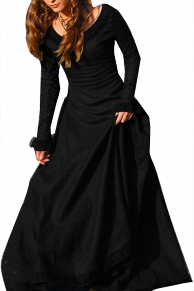 Retro Classic Boat Neck Long Sleeve Maxi A-Line Party Dress
