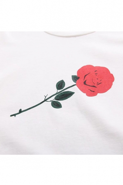 Short Sleeve Tee Neck Round Printed Leisure Rose R6qg7xt