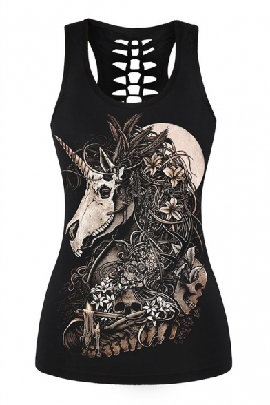 Skull Unicorn Floral Printed Round Neck Sleeveless Hollow Out Back Tank