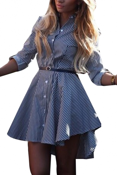 Striped Printed Lapel Collar Long Sleeve Mini Asymmetric Dress