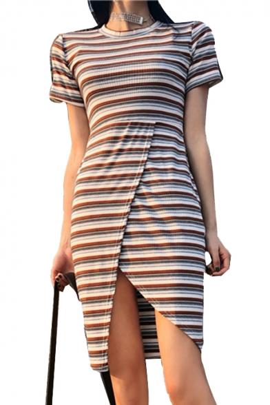 Striped Printed Round Neck Short Sleeve Midi Asymmetric Hem Dress