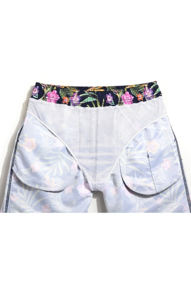 Stylish Designer Navy Blue Floral Tropical Swim Shorts Trunks for Men with Mesh Liner