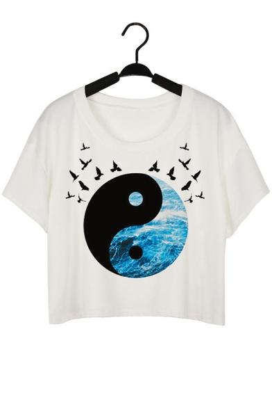 Tai Chi Pattern Bird Printed Round Neck Short Sleeve Crop Tee
