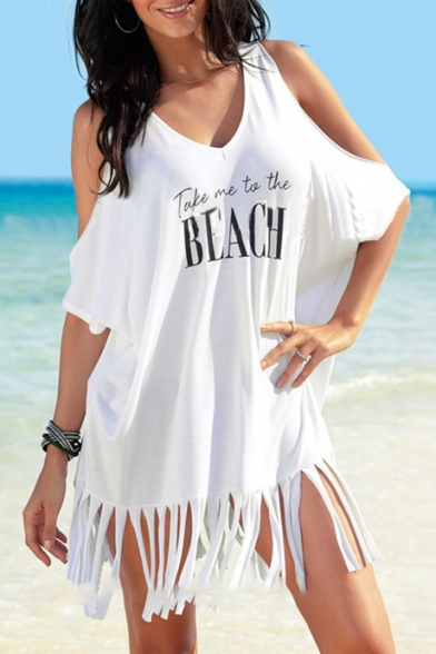 TAKE ME TO THE BEACH Letter Printed Round Neck Cold Shoulder Cover Up with Tassel