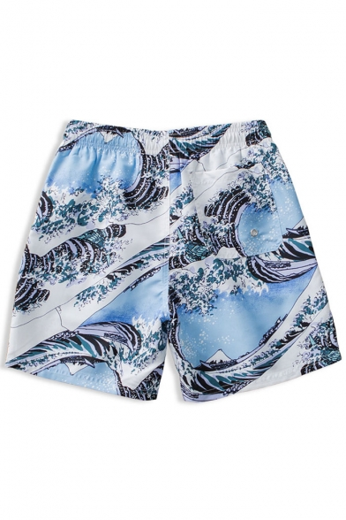 Top Rated Elastic Blue and White Fast Dry Sea Water Wave Stretch Swim Shorts for Guys with Liner