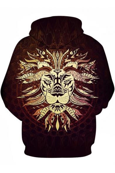 Hoodie Printed 3D Long Lion Tribal Sleeve OnxXqA