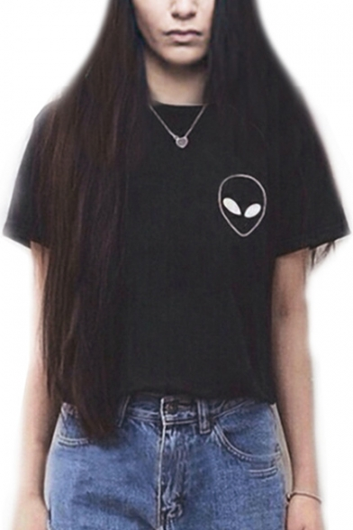 Tee Sleeve Alien Printed Short Neck Round xIwqArXqY