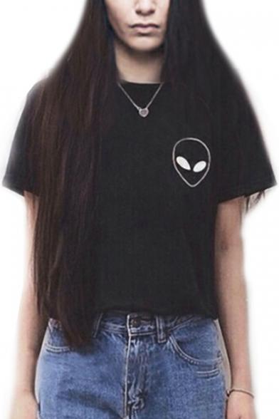 Sleeve Tee Short Neck Alien Round Printed xAwq0pTZTH