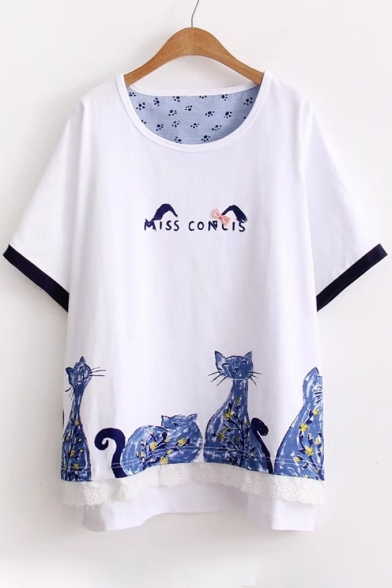 Embellished Neck Letter Cat Printed Short Round Tee Sleeve Bow TBt7BSw