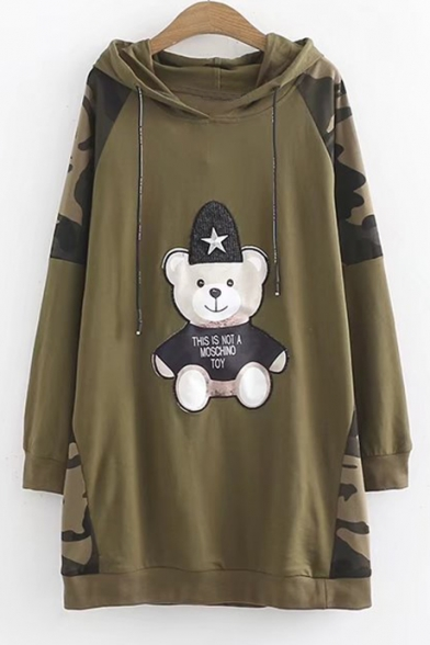 Sleeve Bear Printed Long Tunic Color Camouflage Block Hoodie Embroidered qYBta7