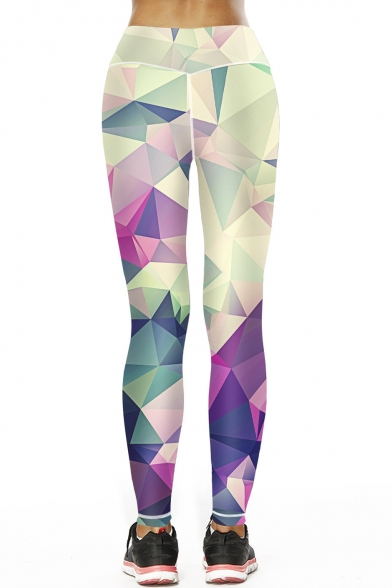 Color Block Geometric Printed Hollow Out Detail Skinny Leggings