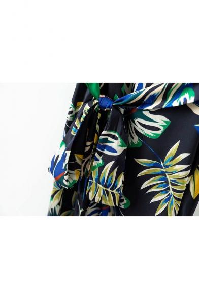 Color Block Leaf Printed Spaghetti Straps Sleeveless Mini Wrap Dress