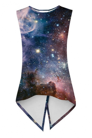 Asymmetrical Sporting Back Crossover Neck Sleeveless Tank Galaxy Round Printed wvwIg