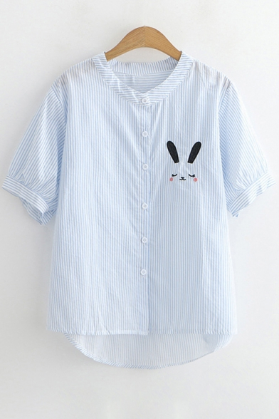 Collar Short Sleeve Stand Rabbit Embroidered Cute Shirt O7xvPUtw
