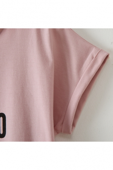 Short DON'T FORGET Neck Round TO Tee Crop Letter Sleeve SMILE Printed qxCqr0n