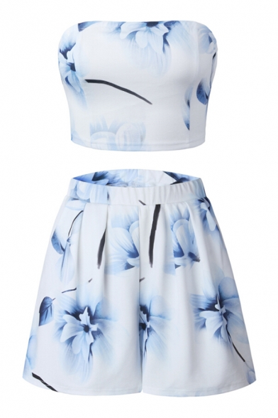 Co Loose Waist Elastic Crop with Shorts ords Printed Floral Bandeau 6I8wY