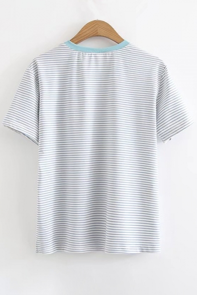 Food Embroidered Sleeve Neck Chinese Tee Short Round Striped wCqwAFvrx