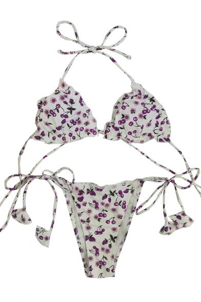 Halter Fashion Sleeveless Bikini Printed Holiday qRC1w