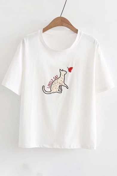 LOVELY Short Cat Tee Butterfly Sleeve Embroidered Neck Round CAT fxfnrqOw6p