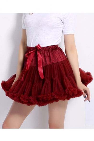 Mesh Patched Bow Tied Drawstring Waist Plain Mini A-Line Tutu Skirt
