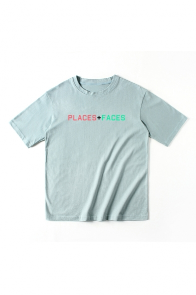 Neck Short Tee PLACES Round Printed FACES Sleeve xqwnRp1vR