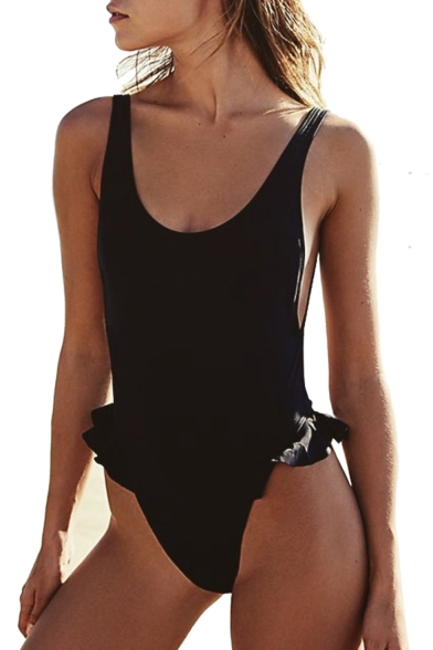 Ruffle Detail Open Back Plain Sleeveless Scoop Neck One Piece Swimwear
