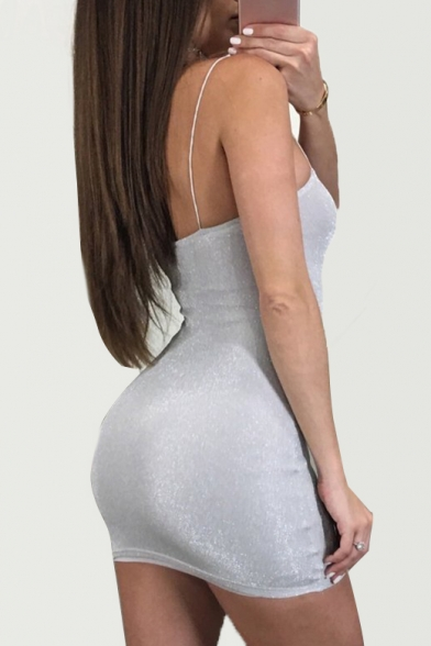 Sexy Spaghetti Straps Bodycon Plain Mini Dress