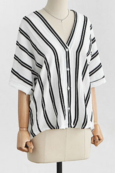 Striped Printed V Neck Short Sleeve Buttons Down Shirt Blouse