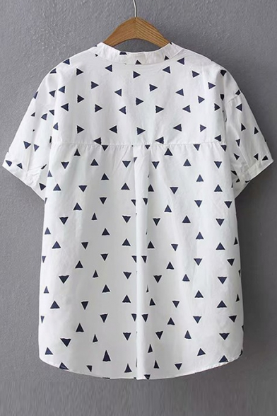 Triangle Printed Short Sleeve V Neck Blouse