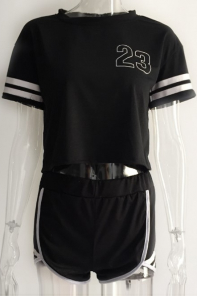 Image of 23 Number Contrast Striped Printed Short Sleeve Crop Top with Contrast Trim Shorts Co-ords
