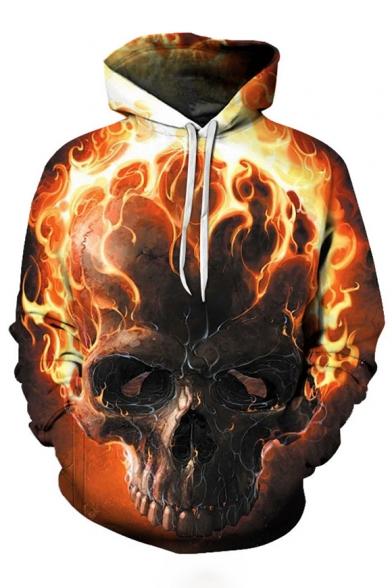 3D Fire Skull Printed Long Sleeve Hoodie