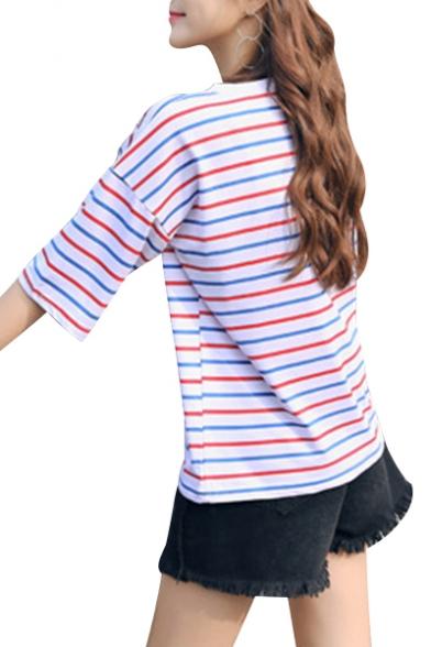Striped Sleeve Neck Tee Short Printed Round Basic Cvwxqd6ax
