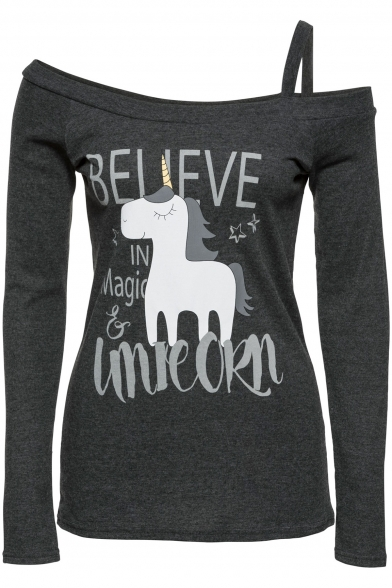 Sleeve BELIEVE Printed Letter Unicorn Long Tee One Shoulder avzfYvwxqn