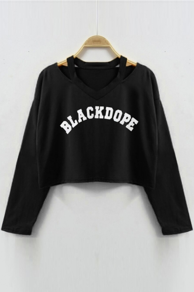 Out Sleeve Sweatshirt Printed Hollow Long BLACKDOPE Letter qtnTwpZZ