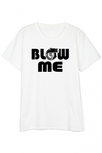Sleeve Short Neck Printed ME Tee Round Gun BLOW Letter wXY0nxCx