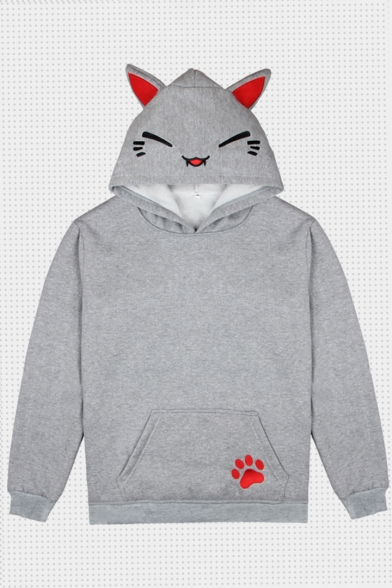 Cat Embroidered Ears Embellished Long Sleeve Hoodie