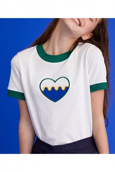 Block Neck Chic Short Tee Heart Sleeve Round Color Embroidered tw4TSOq4B