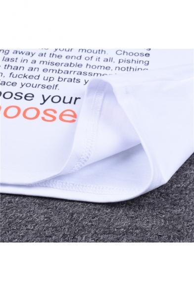 CHOOSE LIFE Letter Printed Contrast Braid Embellished Round Neck Short Sleeve Crop Tee