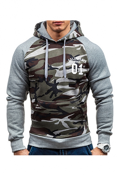 Color Long Letter Camouflage Printed Hoodie Block Sleeve rnxTarO