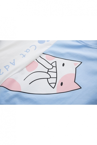 Printed Tee Block Short Neck Round Sleeve Letter Cat Color 1vBHq