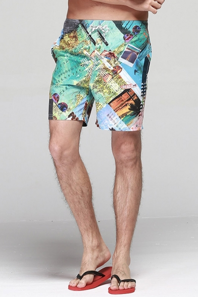 Fashion Men's Green Colorblock Graphic Swim Shorts for Summer with Lined Side Pockets