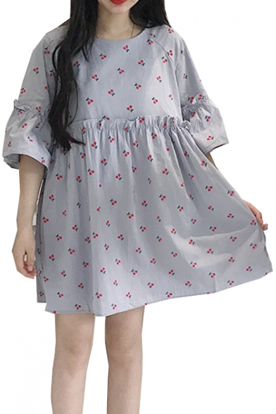 Floral Printed Round Neck Half Sleeve Mini Smock Dress