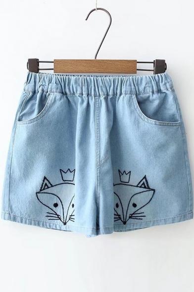Купить со скидкой Foxes Embroidered Elasticated Waist Denim Shorts with Double Pockets