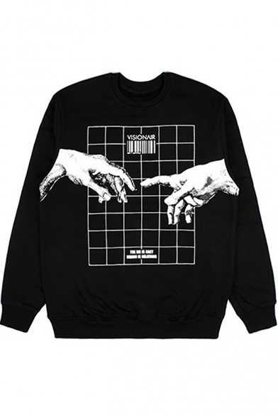 Geometric Sleeve Round Long Hand Printed Sweatshirt Neck wXdAvq