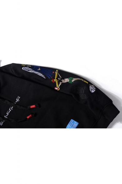 Embroidered Long Character Hoodie Letter Sleeve Loose xFw1CHHqvY
