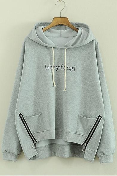Zipper Sleeve Letter Hoodie Embellished Printed Long tOwqfP