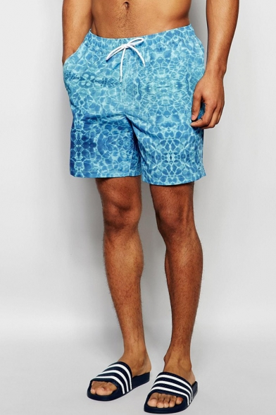 New Male Underwater Wave Beach Shorts Swim Trunks with Mesh Pockets and Liner